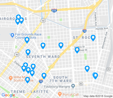 map of St. Roch apartments for rent