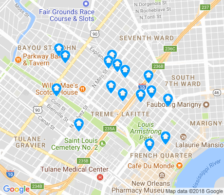 map of Treme - Lafitte apartments for rent
