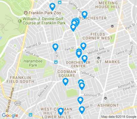 map of Codman Square - East Codman Hill apartments for rent