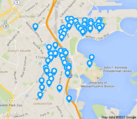 map of North Dorchester apartments for rent