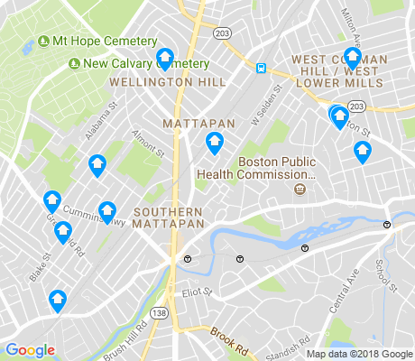 map of Southern Mattapan apartments for rent