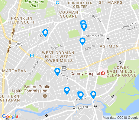 map of West Codman Hill - West Lower Mills apartments for rent