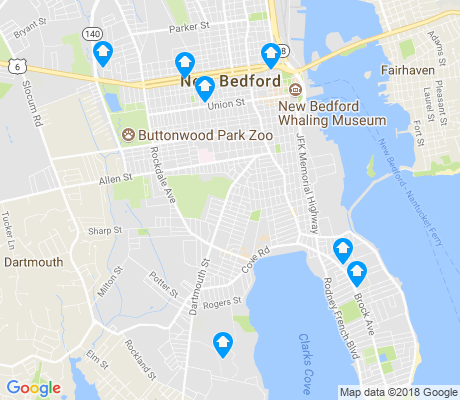 map of New Bedford apartments for rent