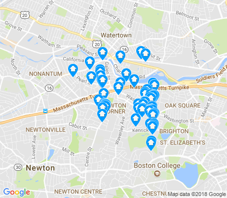 map of Newton Corner apartments for rent