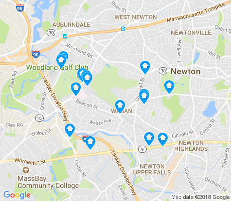 map of Waban apartments for rent