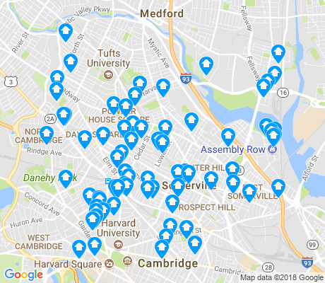 map of Somerville apartments for rent