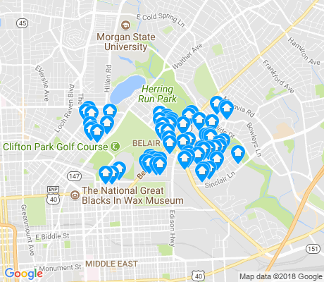 map of Belair - Edison apartments for rent