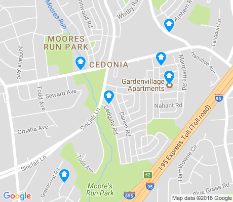map of Cedonia apartments for rent