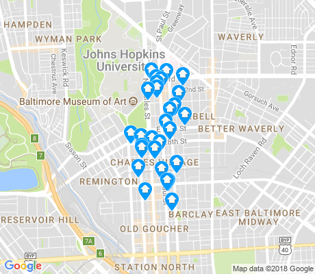 map of Charles Village apartments for rent