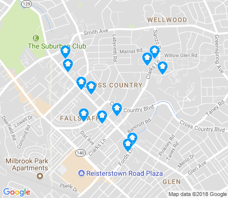 map of Cross Country apartments for rent