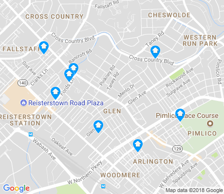 map of Glen apartments for rent