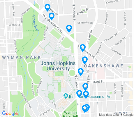map of Johns-Hopkins - Homewood apartments for rent