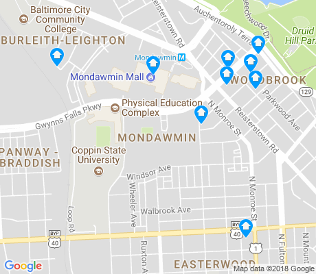 map of Mondawmin apartments for rent