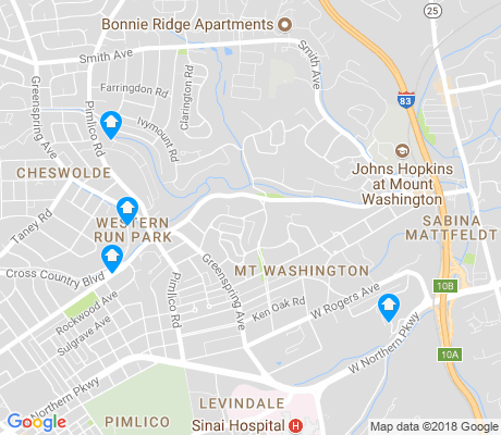 map of Mt. Washington apartments for rent