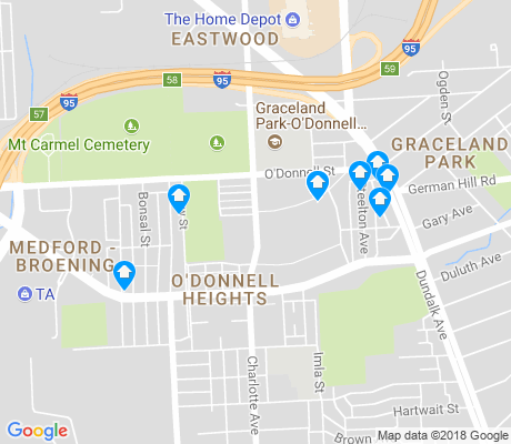 map of O'Donnell Heights apartments for rent
