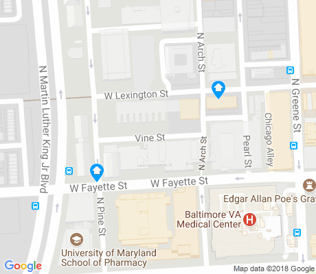 map of University of MD at Baltimore apartments for rent