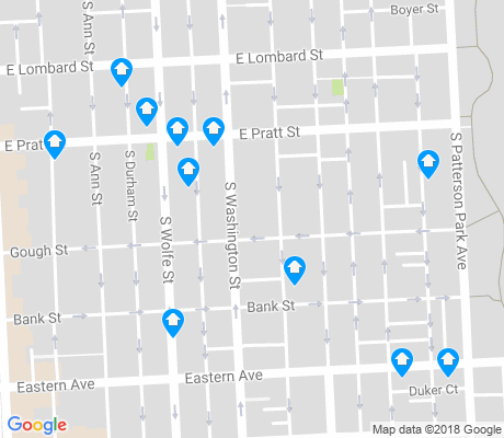 map of Upper Fells Point apartments for rent