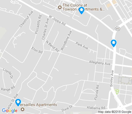 map of West Towson apartments for rent
