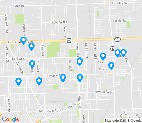 map of Pershing apartments for rent