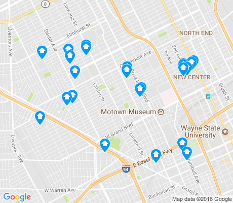 map of Rosa Parks apartments for rent