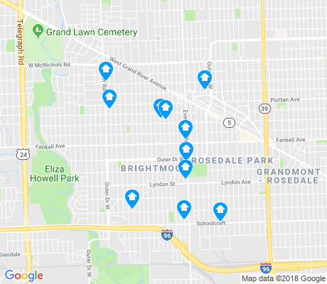 map of Rosedale Park apartments for rent