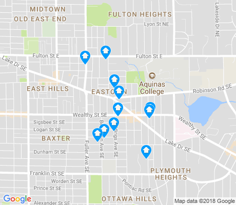map of Eastown apartments for rent
