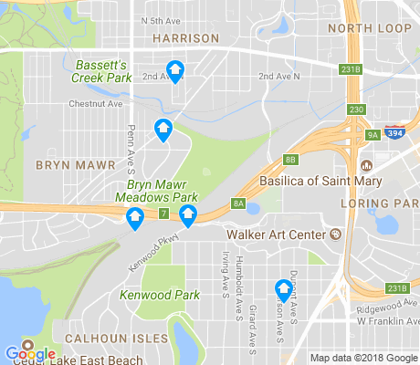 map of Bryn Mawr apartments for rent