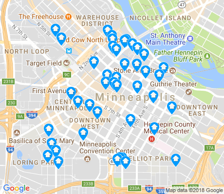 map of Downtown West apartments for rent