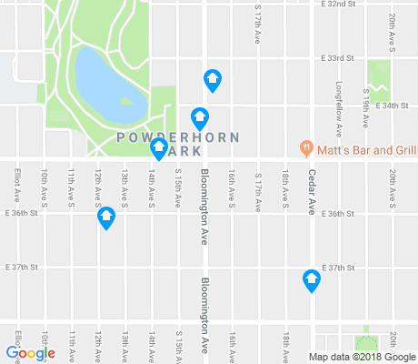 map of Powderhorn Park apartments for rent