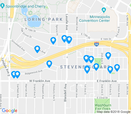 map of Stevens Square apartments for rent
