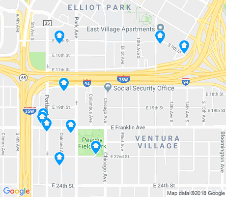 map of Ventura Village apartments for rent