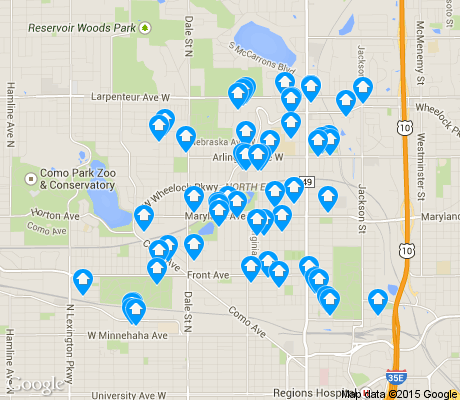 map of North End apartments for rent