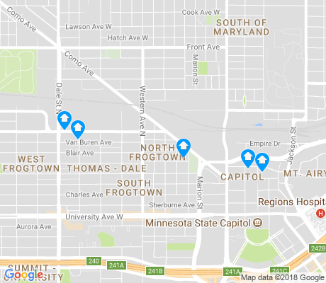 map of North Frogtown apartments for rent
