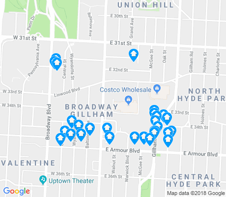 map of Broadway Gillham apartments for rent