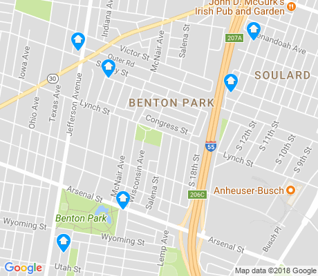 map of Benton Park apartments for rent