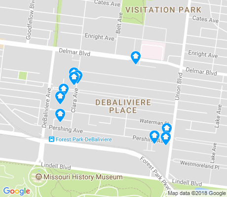 map of DeBaliviere Place apartments for rent