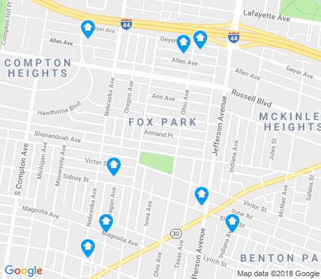 map of Fox Park apartments for rent