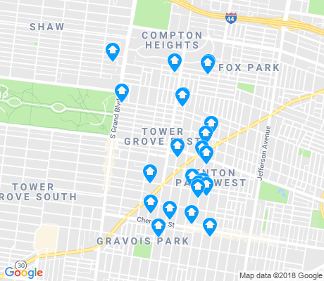 map of Tower Grove East apartments for rent