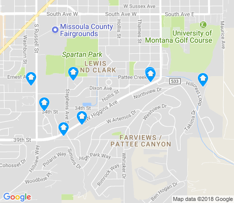 map of Fairview and Pattee Canyon apartments for rent