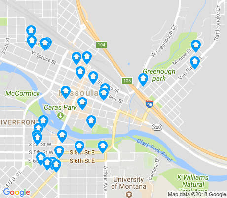 map of Heart of Missoula apartments for rent