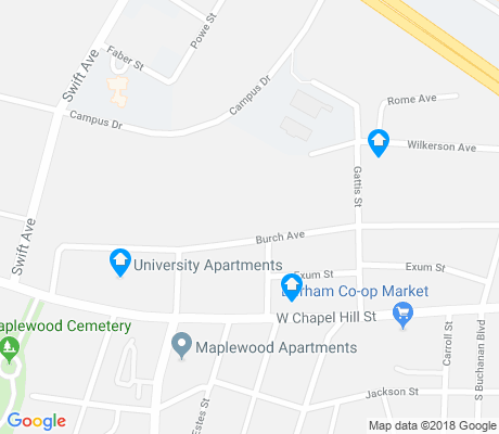 map of Burch Avenue apartments for rent