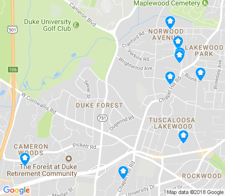 map of Duke Forest apartments for rent