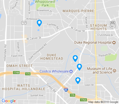map of Duke Homestead apartments for rent