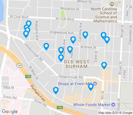map of Old West Durham apartments for rent