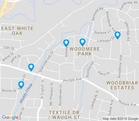 map of Woodmere Park apartments for rent