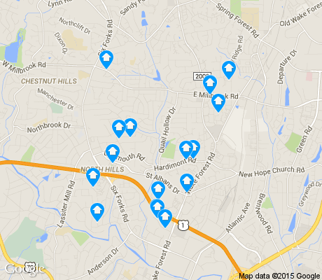map of Falls of Neuse apartments for rent