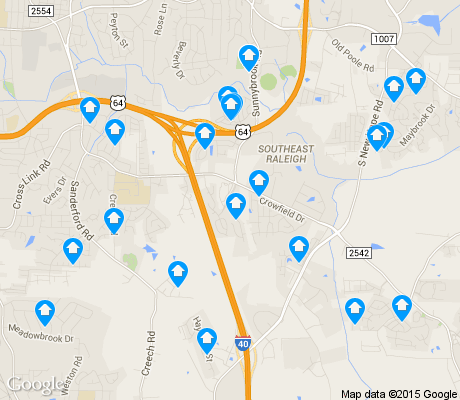 map of South Raleigh apartments for rent