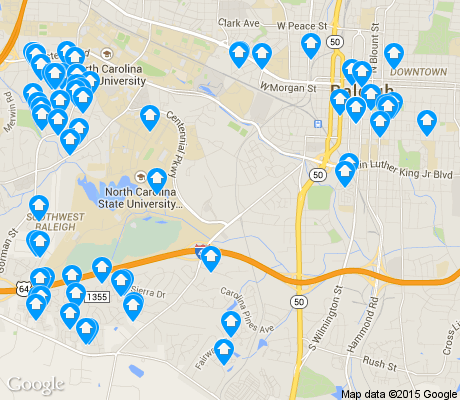 map of Southwest Raleigh apartments for rent