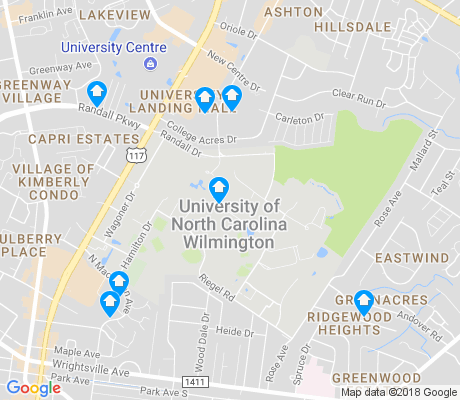 map of University of North Carolina at Wilmington apartments for rent