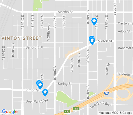 map of Vinton Street apartments for rent
